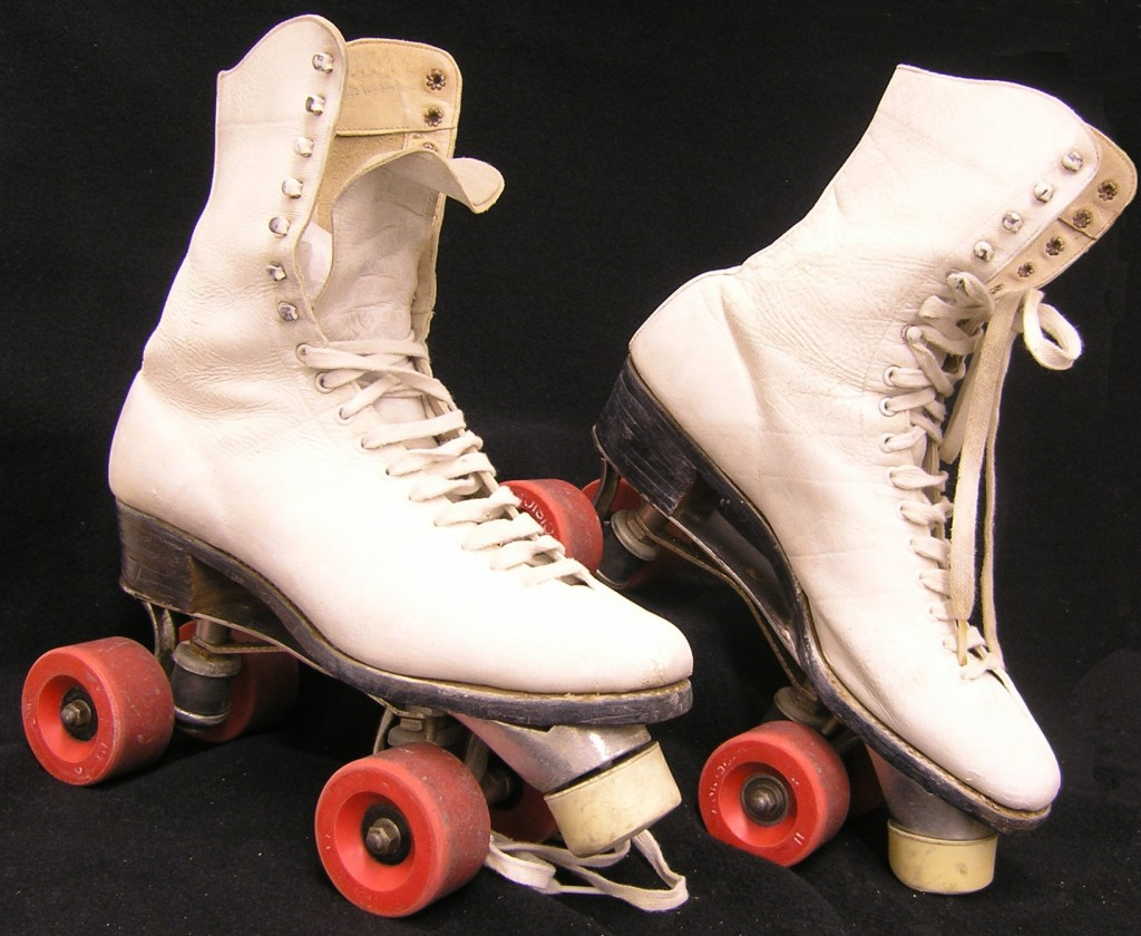 Iris Millmore's roller skates recently donated to the Museum.